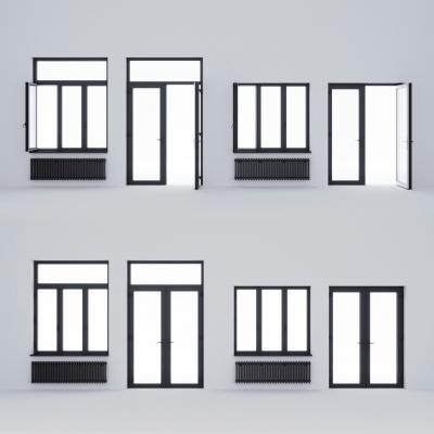 現代鋁合金門窗3D模型【ID:345635240】