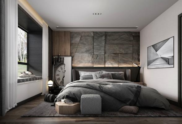 現代臥室3D模型【ID:648272188】