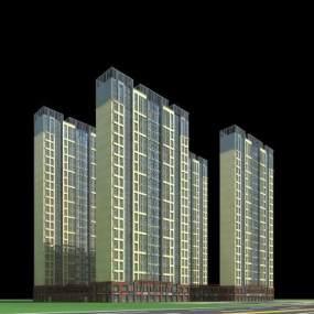 现代高层住宅3D模型【ID:133234731】