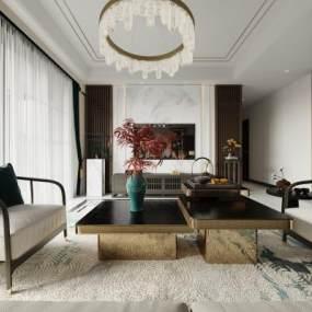 新中式客厅3D模型【ID:553917083】