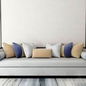 新中式多人沙发3D模型【ID:643416752】