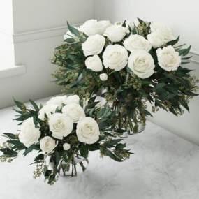现代玻璃花瓶玫瑰花卉组合3D模型【ID:236260897】
