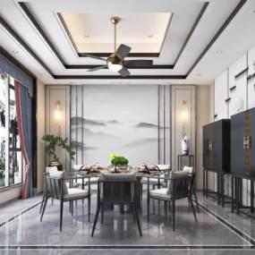 新中式餐廳3D模型【ID:543019178】