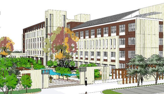 新中式學校教學樓辦公樓圖書館藝術樓建筑SU模型【ID:851970259】