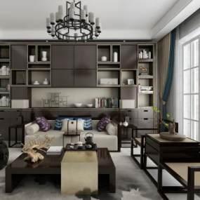 新中式沙发组合3D模型【ID:635848764】