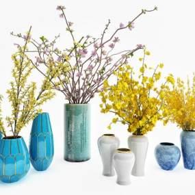 花瓶花卉组合3D模型【ID:233511857】