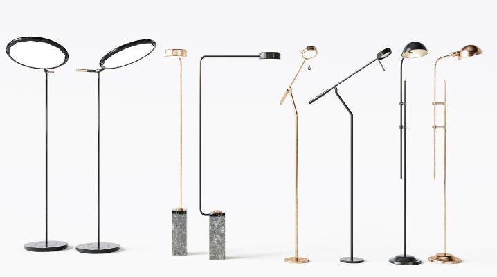 現代金屬落地燈組合3D模型【ID:853013204】