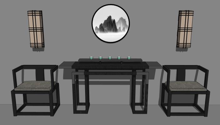 新中式案臺椅子組合SU模型【ID:645624038】