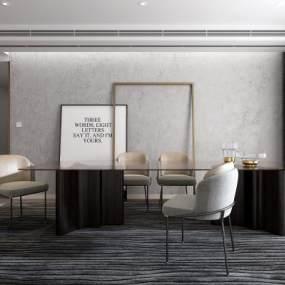 现代餐桌餐椅组合3D模型【ID:531991131】