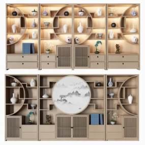 新中式博古架书柜组合3D模型【ID:143473596】
