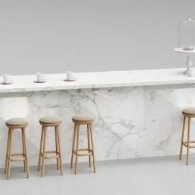 现代吧台吧椅组合3D模型【ID:933052267】