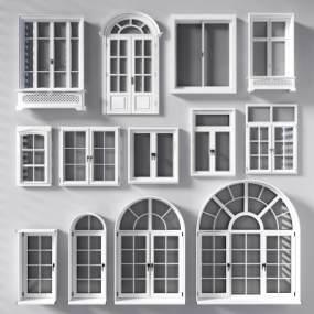 欧式白色实木窗户3D模型【ID:330573296】