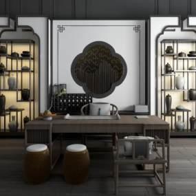 新中式书桌椅书柜组合3D模型【ID:953770051】