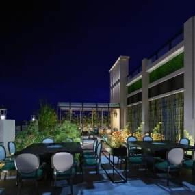 现代屋顶餐厅3D模型【ID:649161243】