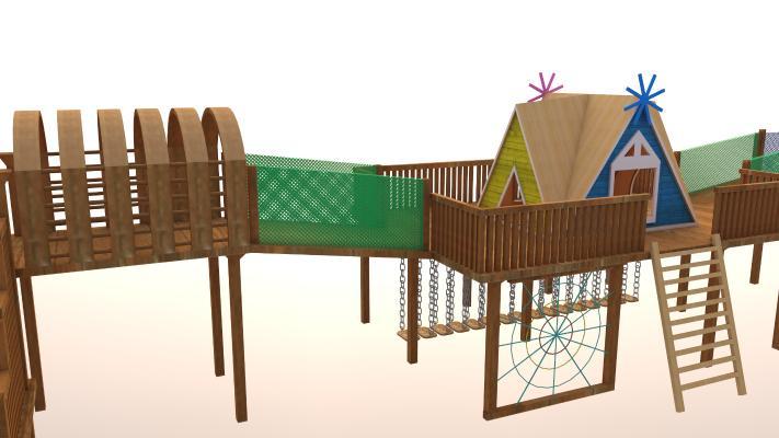現代木制兒童施樂設施SU模型【ID:152365097】