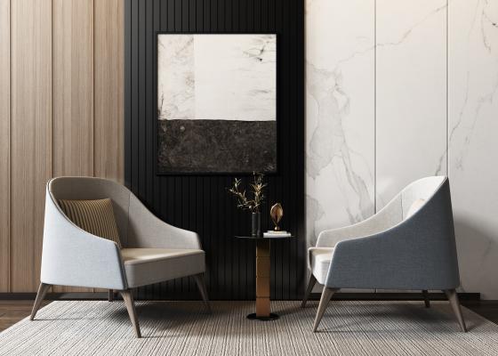 现代休闲沙发椅组合3D模型【ID:745508065】