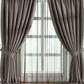 现代窗帘3D模型【ID:232923658】