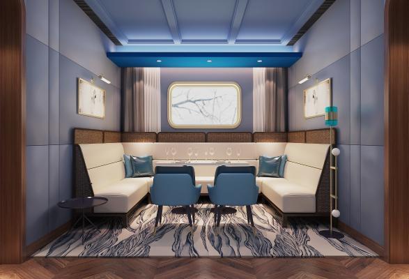 现代湾酒吧餐厅半开放区卡座3D模型【ID:846248076】