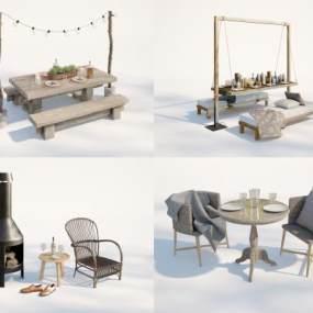 現代庭院餐桌組合3D模型【ID:851145820】