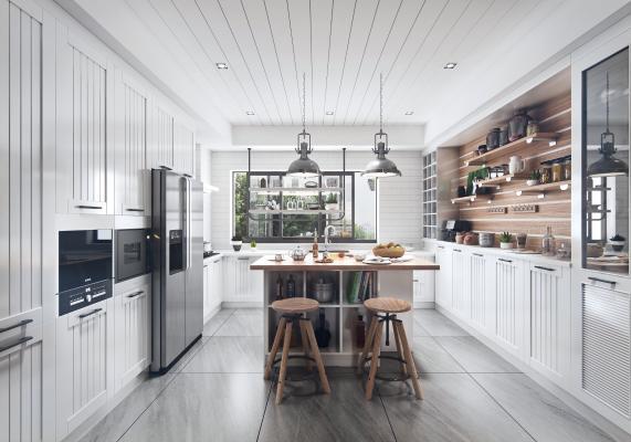 现代厨房3D模型【ID:552814340】
