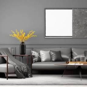 现代皮具沙发组合3D模型【ID:635780711】