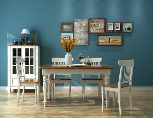 地中海餐桌椅组合3D模型【ID:846338897】