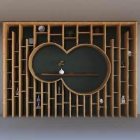 中式装饰柜3D模型【ID:132192190】
