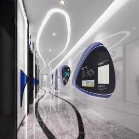 现代风格电梯厅3D模型【ID:743451652】