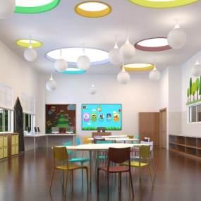 现代幼儿园教室3D模型【ID:935738633】