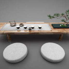 新中式风格茶桌3D模型【ID:844457926】