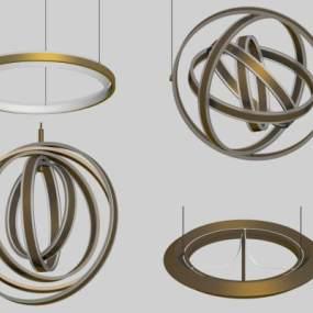 现代吊灯3D模型【ID:747370812】