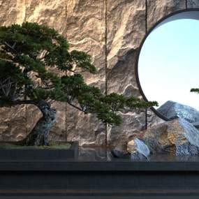 中式盆景盆栽3D模型【ID:247098874】