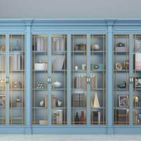 欧式书柜3D模型【ID:130586583】