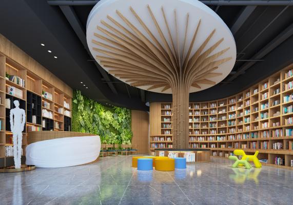 图书馆大厅3D模型【ID:942530892】