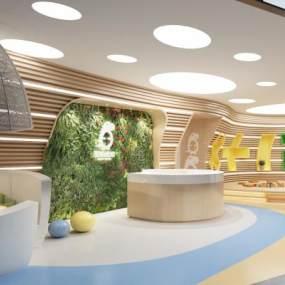 现代儿童教室活动室娱乐室3D模型【ID:935939696】