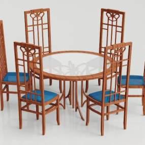 新中式实木餐桌椅组合3D模型【ID:837669836】