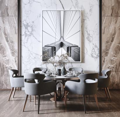 现代轻奢圆形金属餐桌椅组合