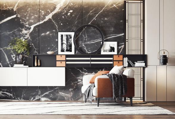 现代休闲沙发3D模型【ID:743425028】