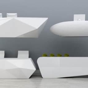 现代吧台前台接待台收银台组合3D模型【ID:930576289】