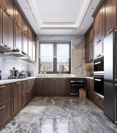 新中式风格厨房橱柜 厨房电器 厨房用品