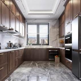 新中式風格廚房櫥柜3D模型【ID:546217344】