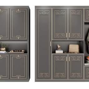 新中式装饰柜组合3D模型【ID:134668297】