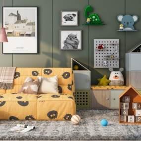 北歐兒童沙發玩具柜組合3D模型【ID:650859113】