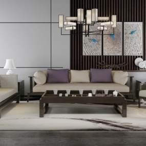 新中式沙發茶幾組合3D模型【ID:645729736】