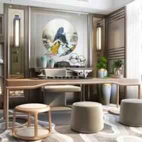新中式茶室3D模型【ID:646537138】