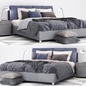 现代风格双人床3D模型【ID:835752719】