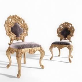 欧式绒布椅子3D模型【ID:730997113】
