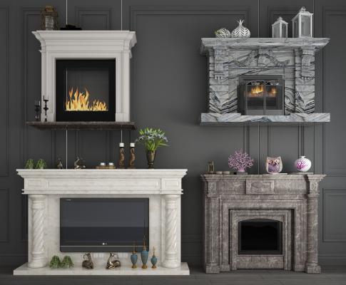 欧式大理石装饰柜壁炉电视壁炉组合3D模型【ID:341855644】