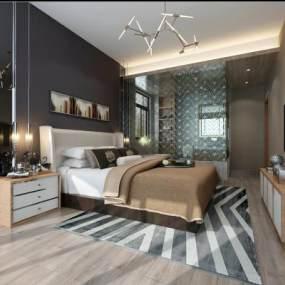 现代卧室3D模型【ID:531998266】