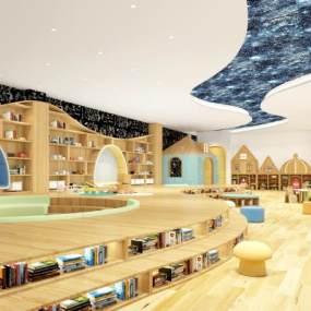 现代幼儿园图书馆3D模型【ID:945771806】